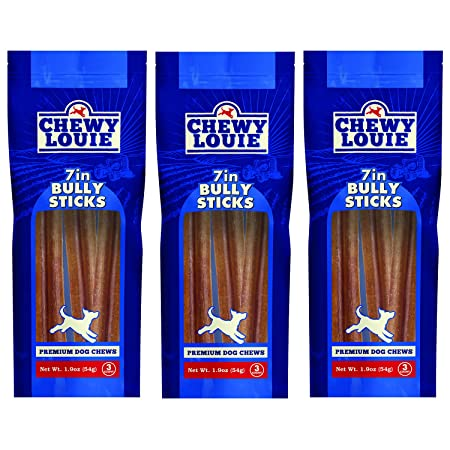 CHEWY LOUIE Bully Sticks – 100 Beef Treat, No Artificial Preservatives, Colors, or Flavors. Tough, Long-Lasting, and Dental Support Dog Treats.