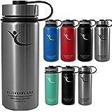 BeMaxx Fitness - Active Flask - Botella térmica con 3 tapones - Acero inoxidable con aislamiento por vacío - Para uso en entrenamientos, oficina, exteriores - Apto para bicicleta - Para café y té