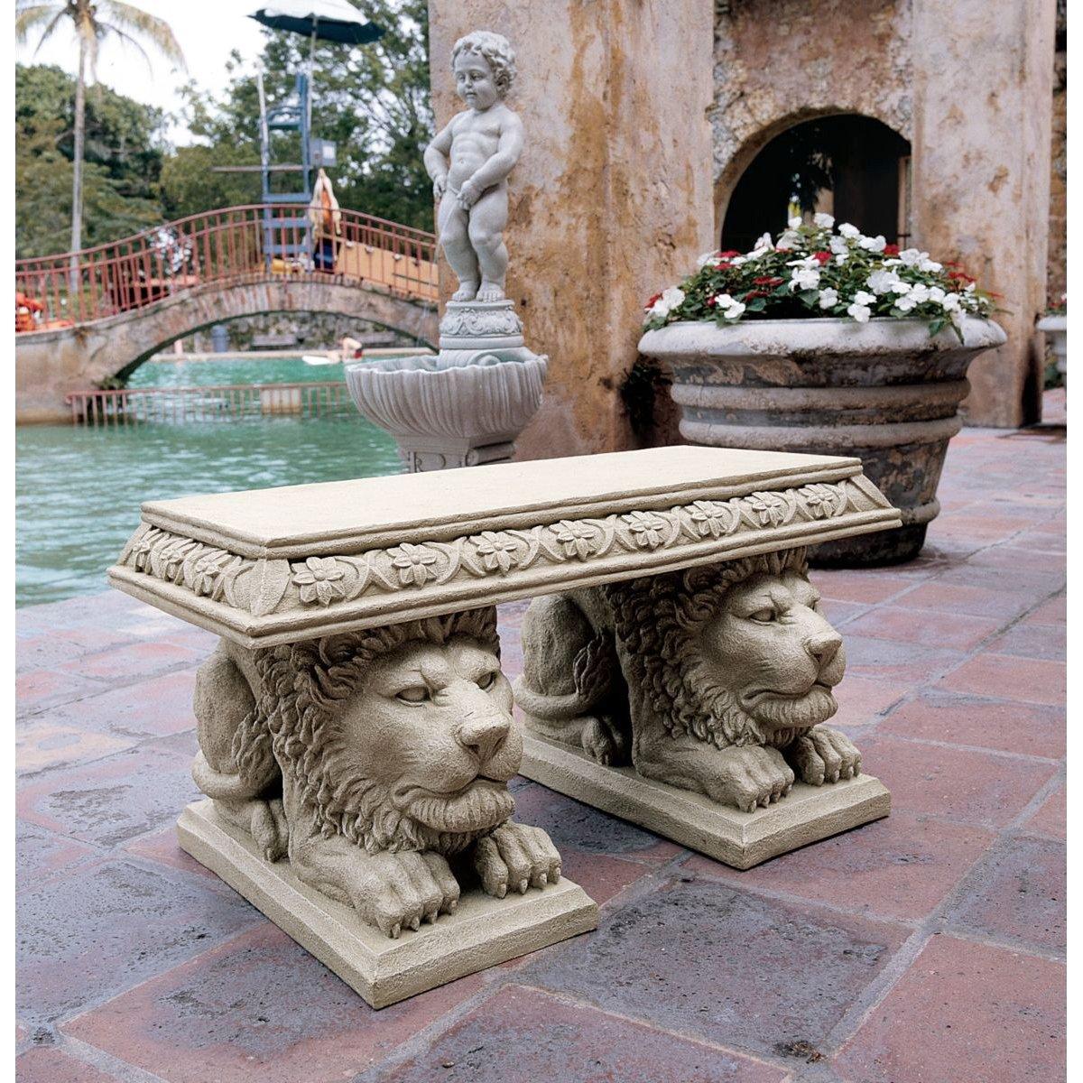 Design Toscano Grand Lion of St. Johns Square Sculptural Bench