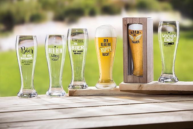 1 x Weizenglas Glas Spruch: Bier rein Alltag raus Höhe 23 cm
