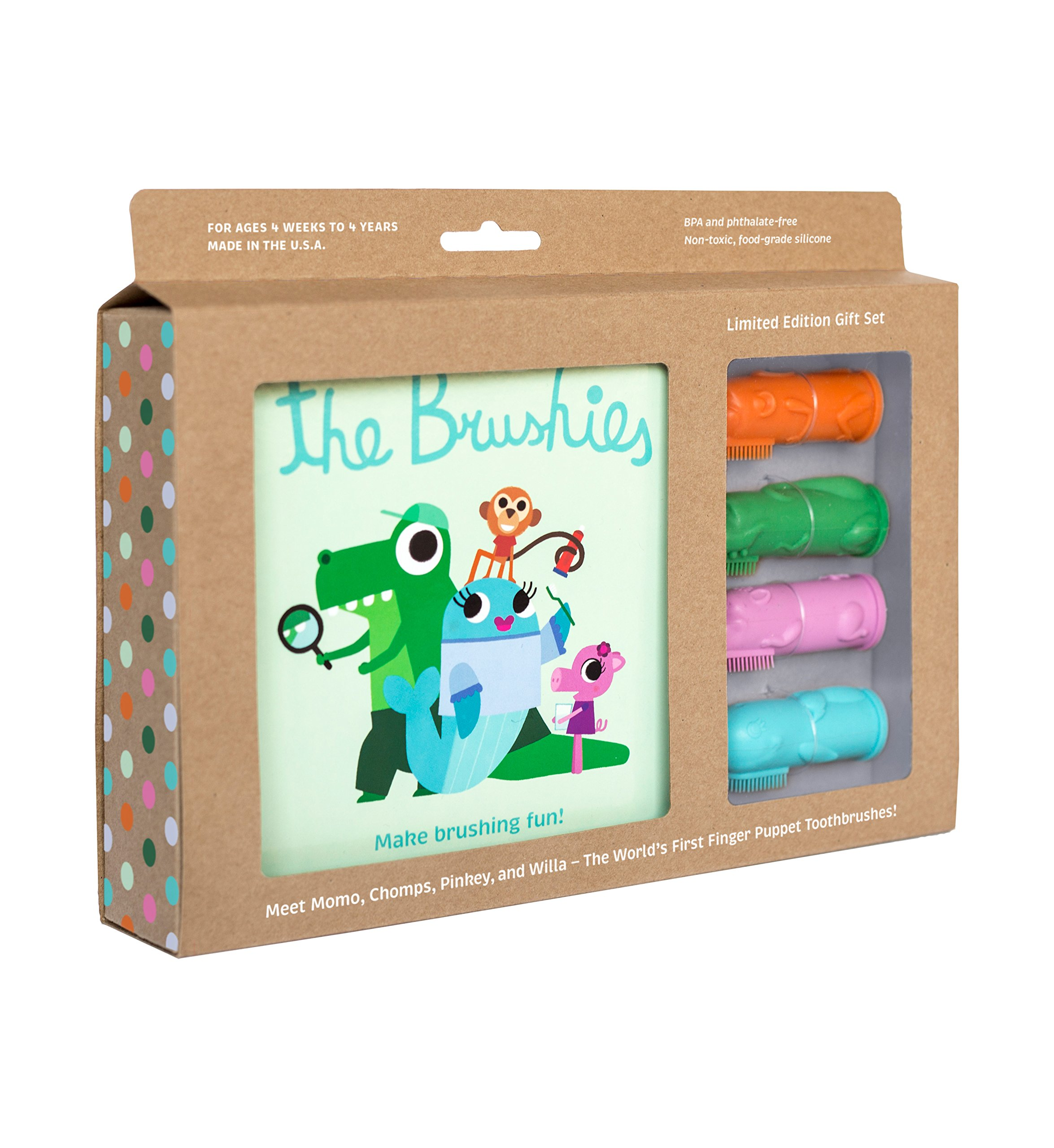 The Brushies Baby & Toddler Toothbrush & Storybook, Gift Set of 4 Brushes