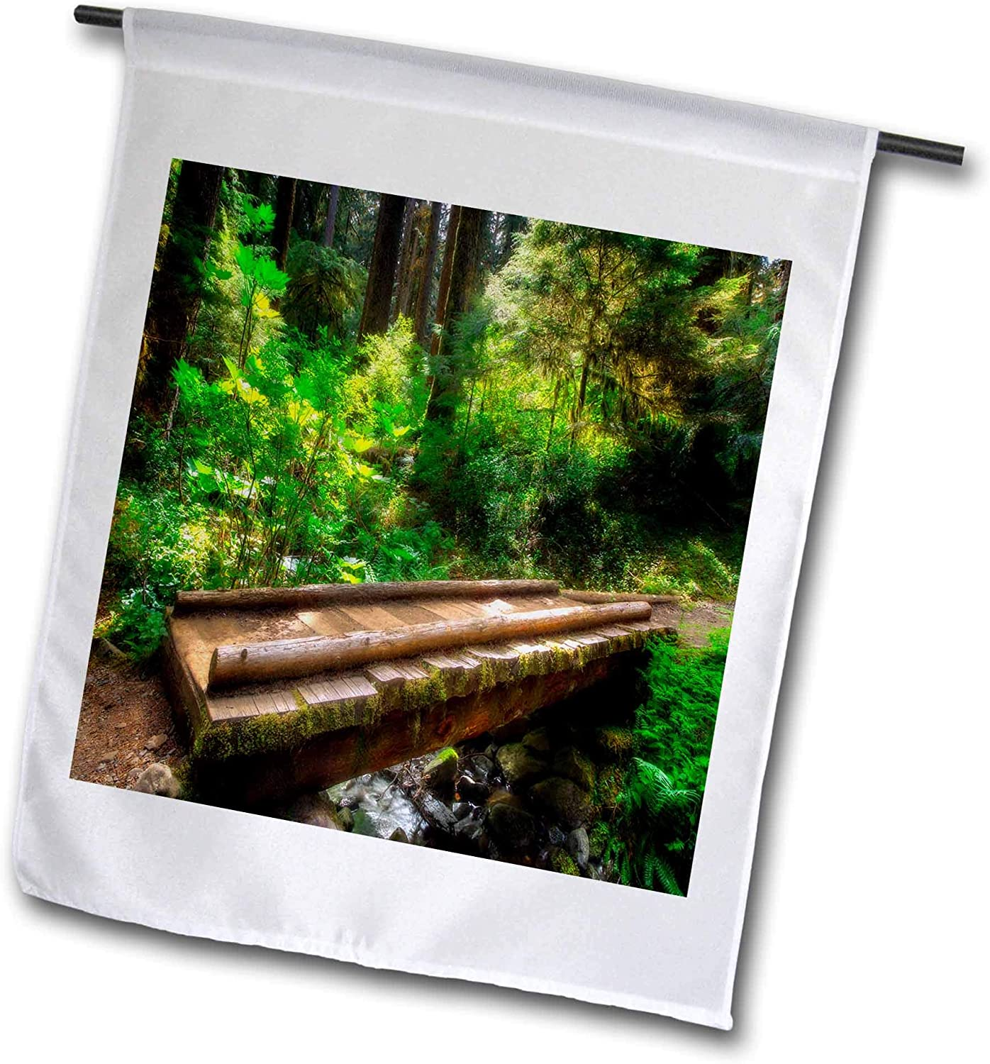 3dRose Mike Swindle Photography - Landscapes - Foot Bridge Along a Forest Trail - 12 x 18 inch Garden Flag (fl_307826_1)