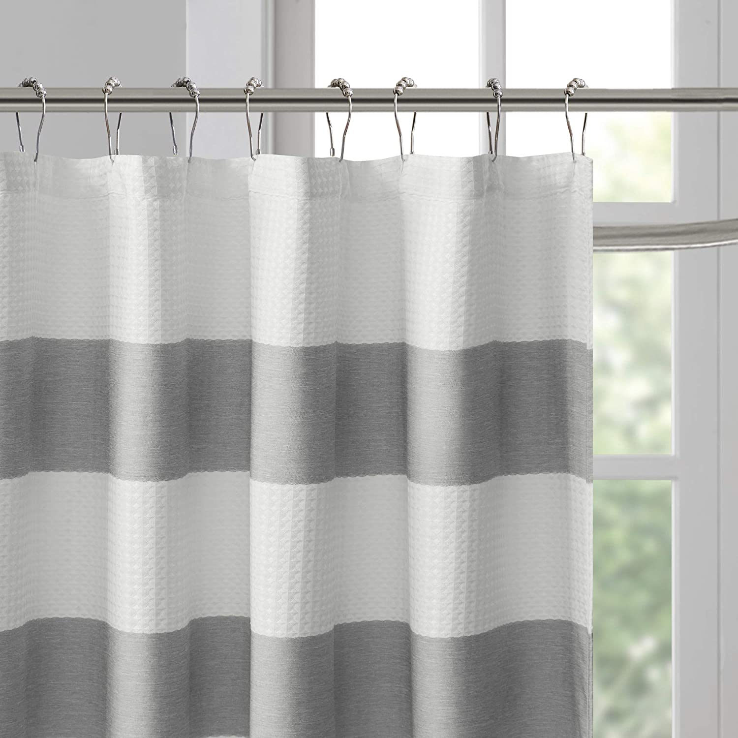 JLA Home INC Madison Park Spa Waffle Weave Striped Fabric Shower Curtain Classic Curtains