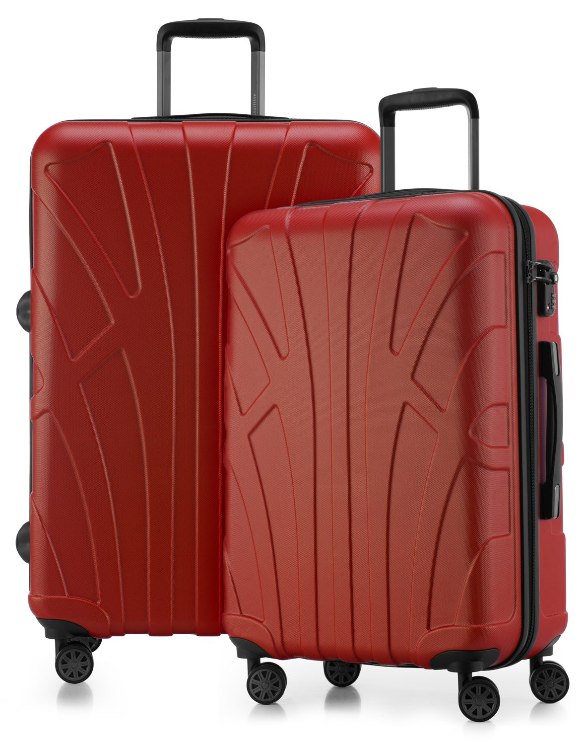 Suitline - Set di 2 Trolley rigido, Due valigie di medie dimensioni 66 cm, TSA 4 ruote ABS, Arancione Suitline 24-24