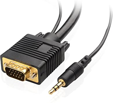 10FT VGA MALE TO MALE EXTENSION M//M MM MONITOR CABLE SVGA WITH 3.5MM AUDIO CABLE