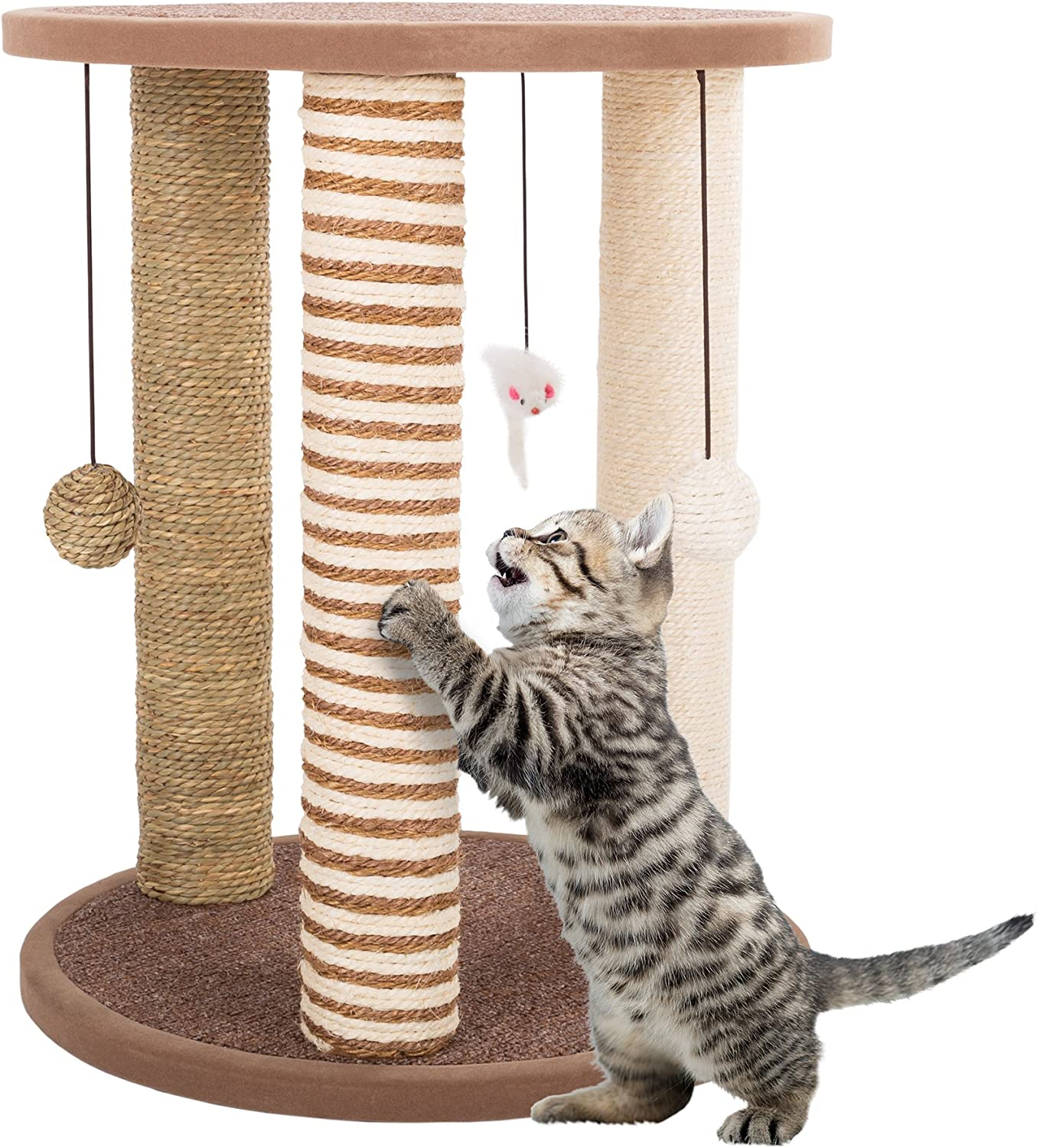 Cat Scratching Post Tower With 3 Scratcher Posts Carpeted Base Play Area And Perch Furniture Scratching Deterrent For Indoor Cats By Petmaker Tan Pet Supplies