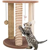 PETMAKER Cat Scratching Posts- Adult Cat and Kitten Tree, 3 Large Scratching Poles, Carpeted Base Play Area and Perch, Furniture Scratch Deterrent by