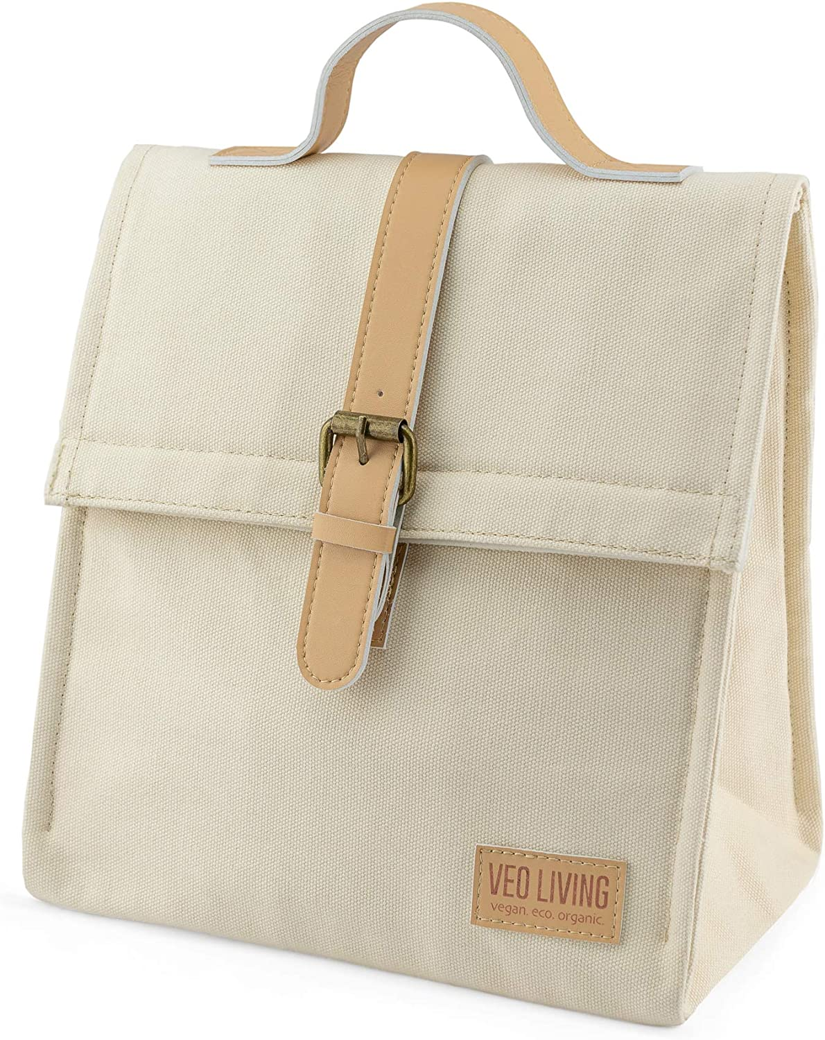 Vegan Insulated Lunch Bag, Beige Canvas, Cruelty Free Product, Reusable, Keeps Food and Drinks Cool, Ethically Made, Eco Friendly, Perfect Tote to take to Work School Day Trips & when Travelling
