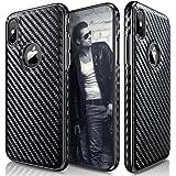 iPhone X Case, LOHASIC [Premium Leather] Carbon Fiber Coated Slim & Thin Luxury PU Soft Flexible Hybrid Anti-Slip Grip Scratch Resistant Protective Cover Cases for Apple iPhone X 10 - [Carbon Fiber]