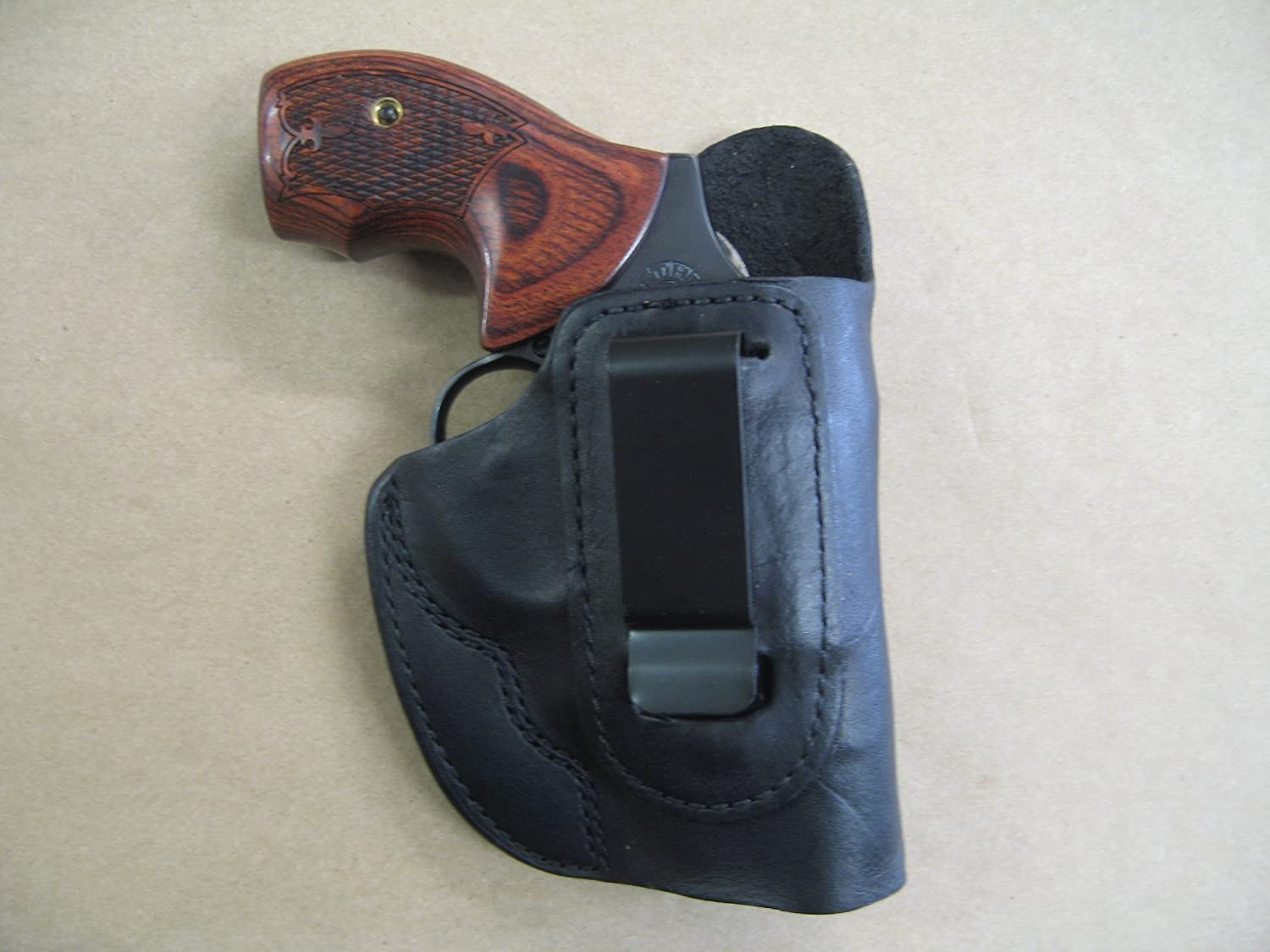 Azula IWB Leather in The Waistband Concealed Carry Holster for Taurus 85,  605, 650 Revolver Black RH