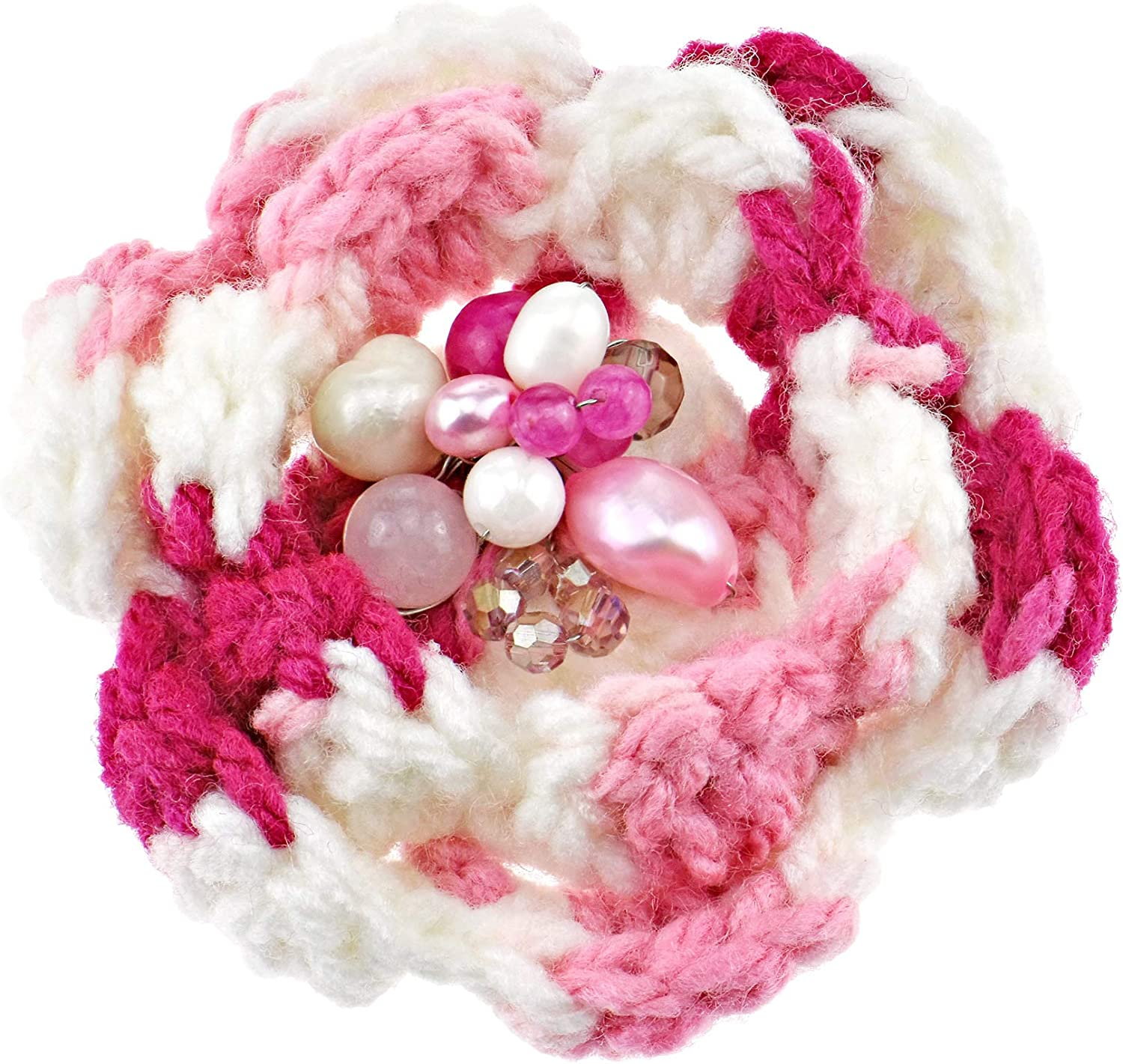 Beautiful Floral Pink and White Brooch Pin