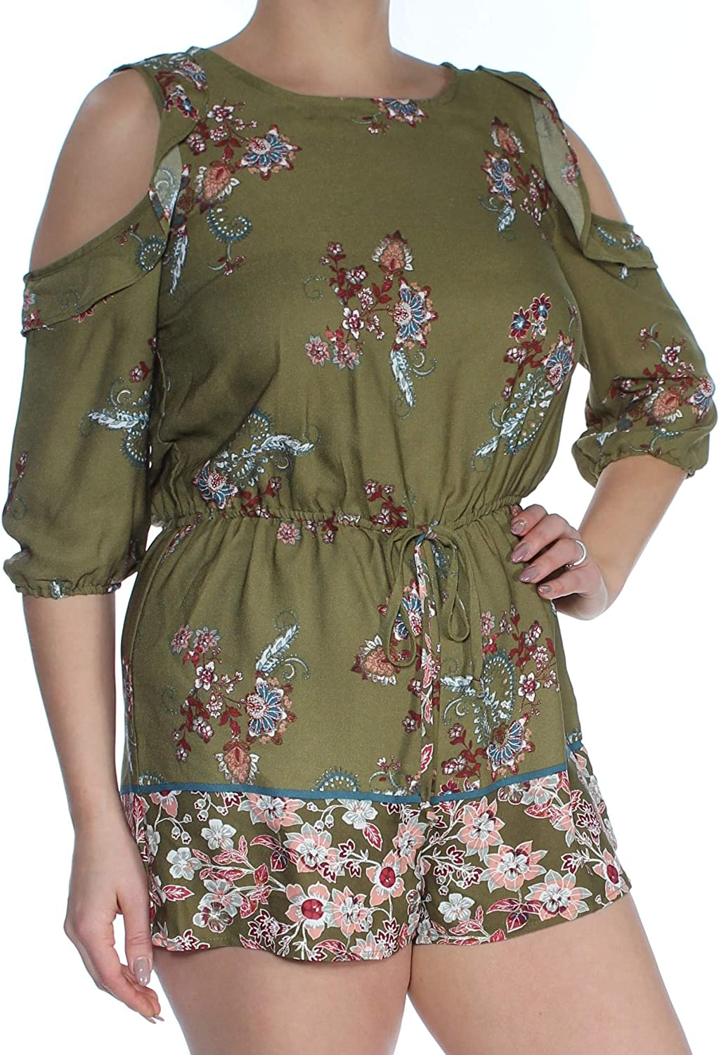 Be Bop Juniors Printed Cold-Shoulder Romper
