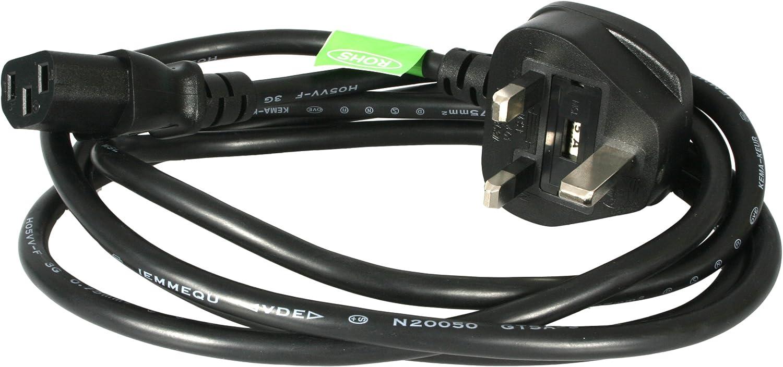 IEC C13 H05VV F 0.75 mm /² 3G 13A fonctionne avec TV // imprimante // PC // projecteur // bouilloire et autres appareils /électrom/énagers High grade UK plug /à angle Kettle c/âble dalimentation secteur // plomb