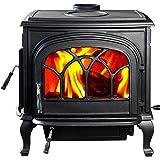 HorseFlame Extra Large Cast Iron Freestanding Wood Burning Stove HF737U Paint Black
