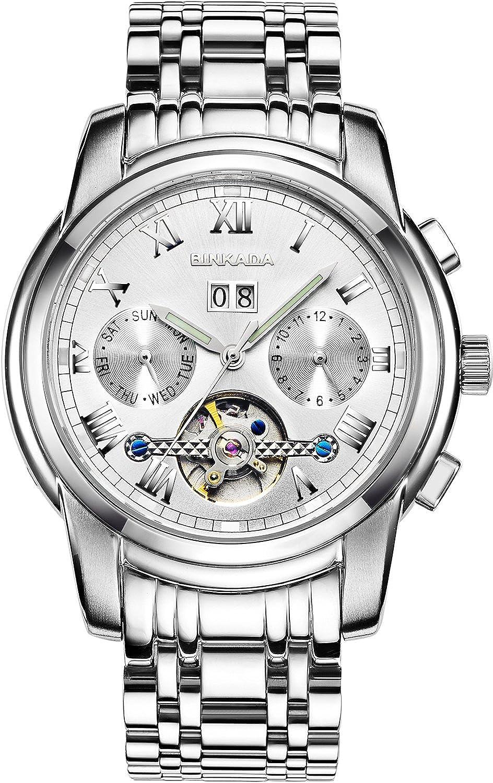 BINKADAクラシック自動機械ホワイトダイヤルメンズ腕時計# 7062l01 – 1 B01DZMFVUI