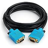 CPO - Cable VGA/SVGA (15 pines, canal DDC, con ferrita, conectores chapados en oro, 2 m), color negro y azul