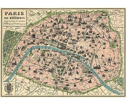 Amazon.com: Vintage Paris Map Monuments Poster by Cavallini & Co