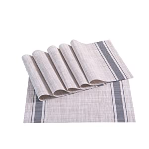 Sunshine Fashion Inc Placemats,Placemats Dining Table,Heat-Resistant Placemats, Stain Resistant Washable PVC Table Mats,Kitchen Table mats,Sets 6 (4:Dark Gray)