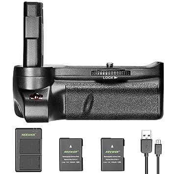 Neewer Empuñadura Vertical Batería para Nikon D3400 Cámara Réflex Digital con 2 Piezas 7.4V 1050mAh Nikon EN-EL14 EN-EL14A Reemplazo de Baterías de ...