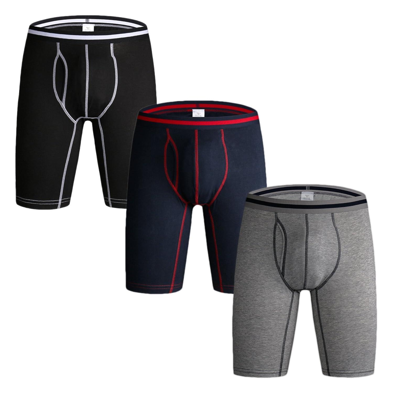 Nuofengkudu Herren Boxershort Langes Bein Sport Fitness Unterhosen Männer Unterwäsche Retroshorts Pack 3er & 4er