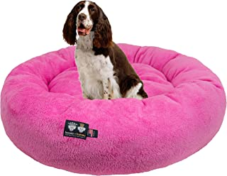 product image for Ultra Plush Deluxe Comfort Pet Dog & Cat Pink Snuggle Bed (Multiple Sizes) - Machine Washable, Made in the USA, Reversible, Durable Soft Fabrics