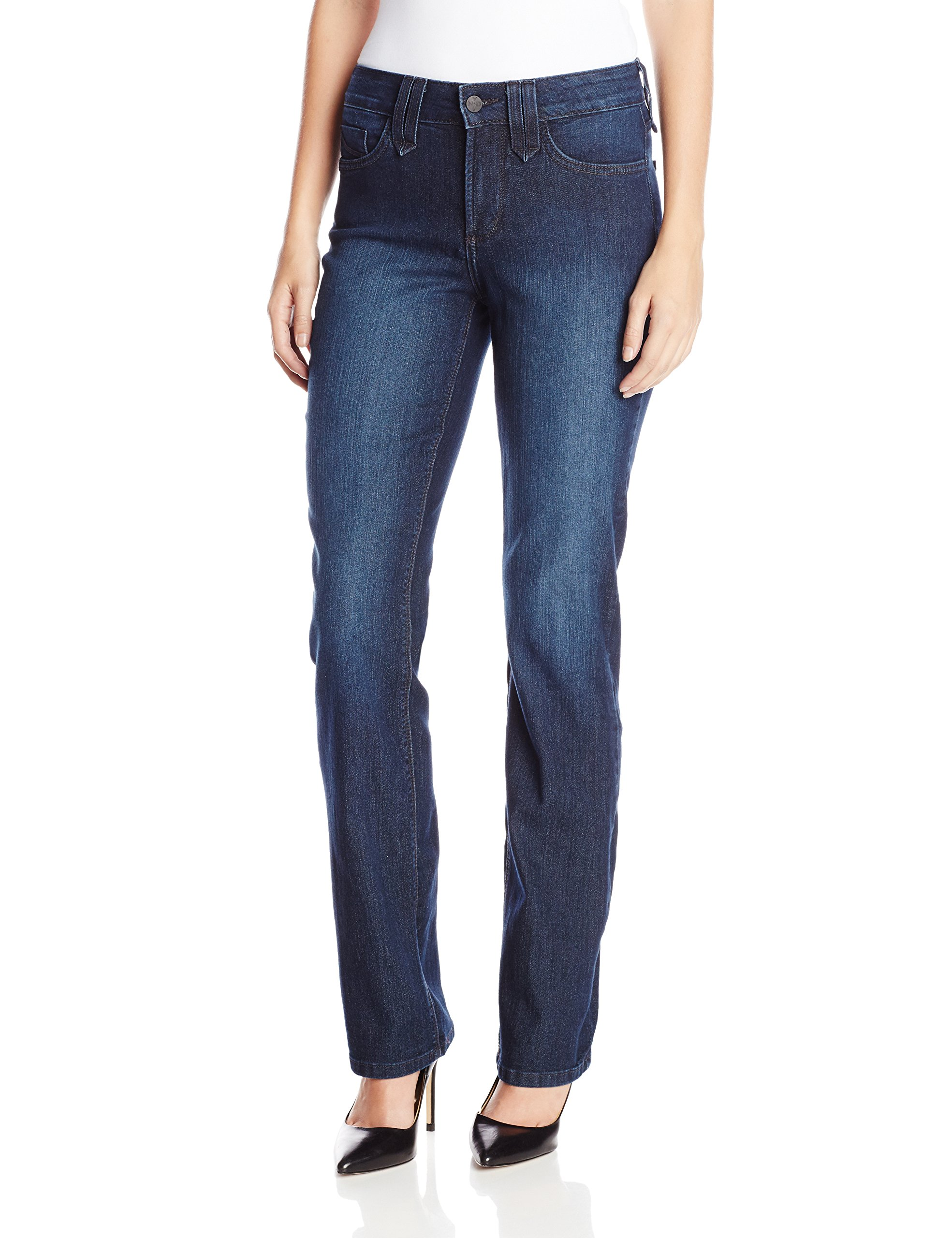 NYDJ Women's Marilyn Straight Leg Jeans, Deep Burbank Wash, 10 by NYDJ