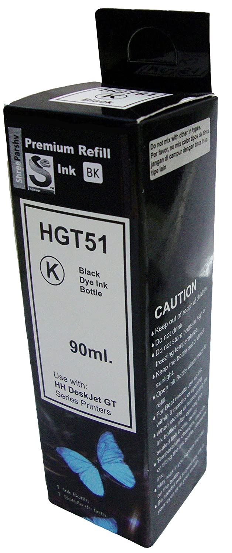 Shree Parshv Gt51 Black Ink Cartridge For Hp Gt 5820 5810 90 Ml Tinta Printer 51 Original Computers Accessories