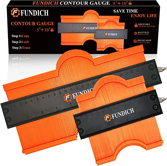 Construction Tools. 2 Pack Widening Contour Gauge 5 Inches and 10 Inches With Lock Radian Measuring Ruler For Woodworking Gauges,Accurately Replicate Various Irregularly Shaped