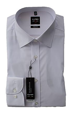 OLYMP Hemd Herren, Weiß, Level 5 Five Body Fit, Bügelleicht, Comfort Stretch