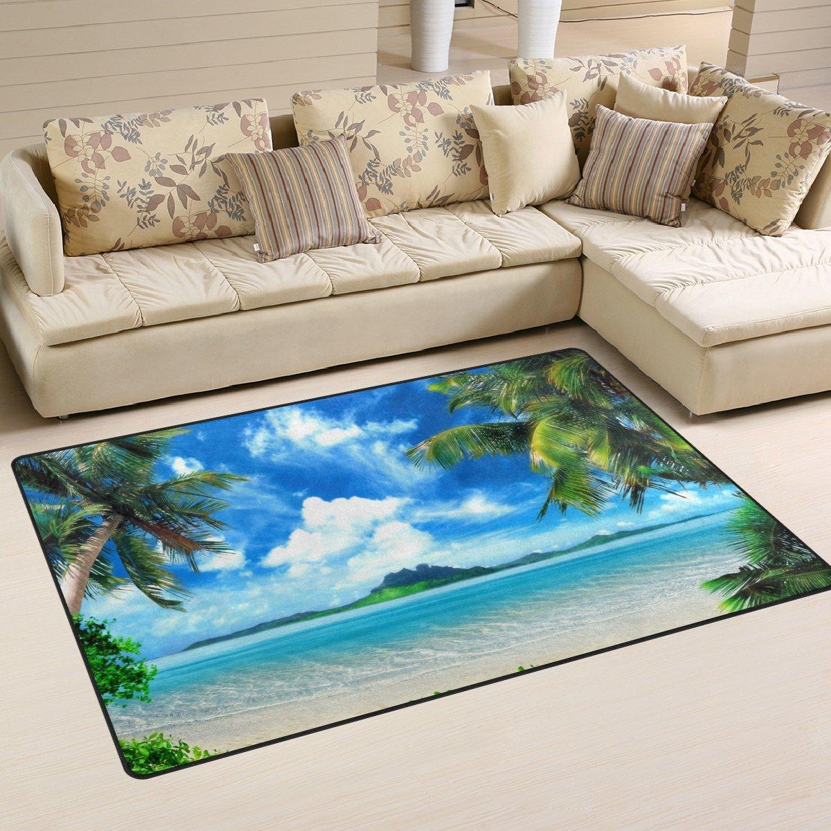 naanle Tropical Beach Palm Tree非スリップのエリアラグリビングダイニングルームベッドルームキッチン、1.7 X 2.6 ' (20 x 31インチ、海オーシャンNurseryラグ床カーペットヨガマット, 3' x 5' 3096267p146c161s241 1 B07B4TQZ9K 3' x 5' マルチ マルチ 3' x 5'