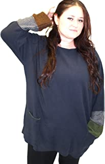 product image for Margaret Winters Plus Size Double Cuff Shirt Sweater (2X, Navy)
