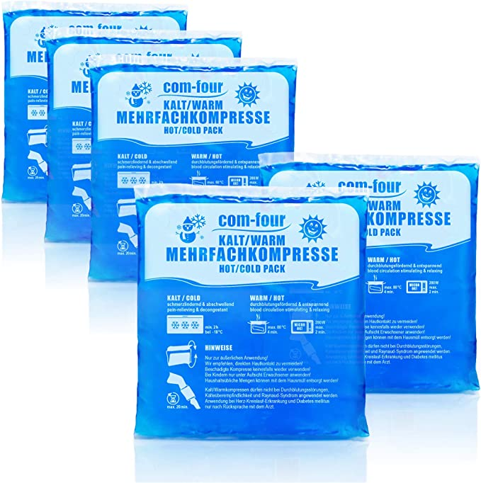 com-four® 5X Compresa Multiuso, Compresas Frías y Calientes Reusables, 13 x 14,5 cm - Apto para Microondas (05 Piezas - Medianas)