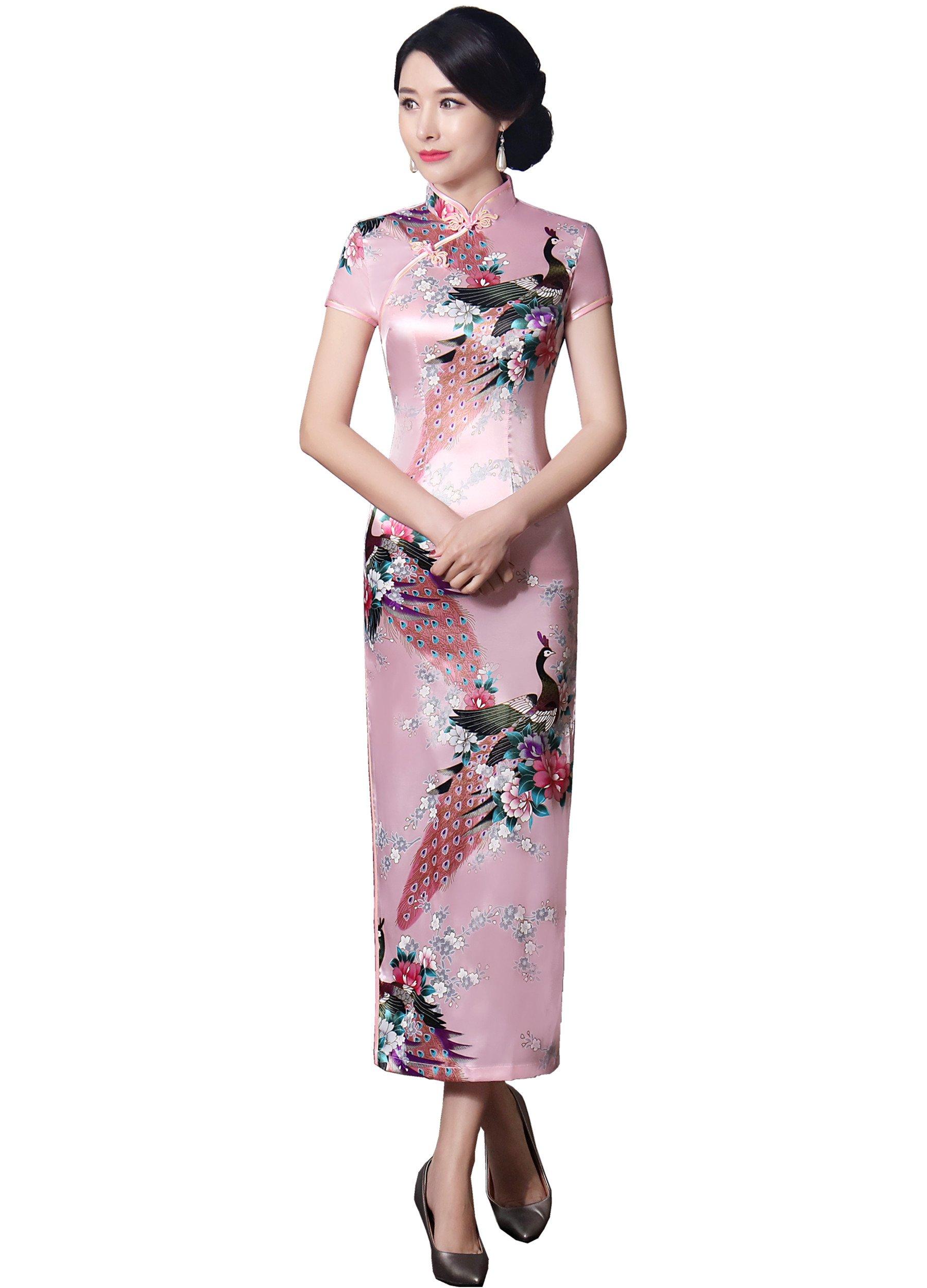 Shanghai Story Short Sleeve Peacock Print Cheongsam Long Qipao Dress XL Pink
