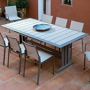 Amazon.de: rechteckigen Tisch hegoa mit Fuß Central, muskat/Linnen
