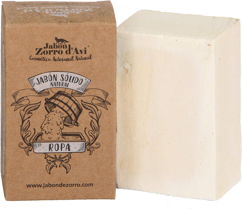 Jabón Zorro D'Avi | Jabón Sólido Natural y Biodegradable para Ropa | 120 gr | Jabón Neutro Sólido para Lavadora | Apto para Todo Tipo de Prendas | Fabricado en España