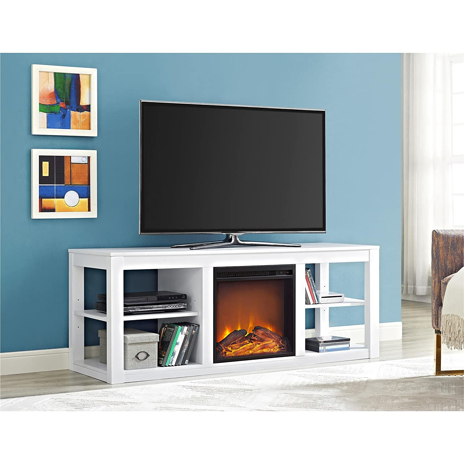anniston wayfair white fireplace tv stand homestar electric furniture reviews media pdx