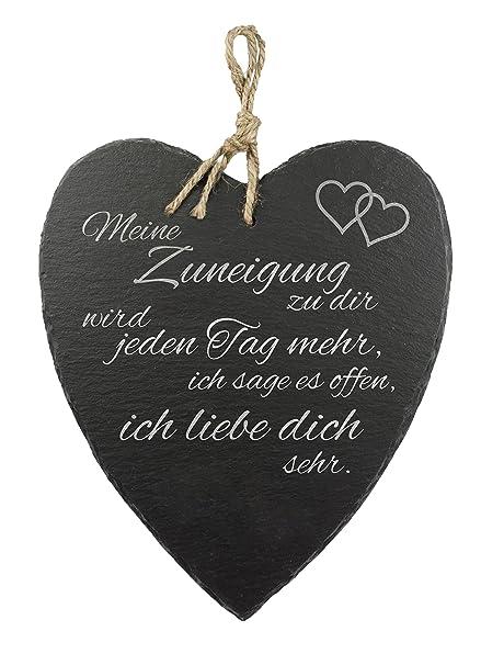 Amazon De Casa Vivente Schieferherz Mit Gravur Und Spruch Liebe