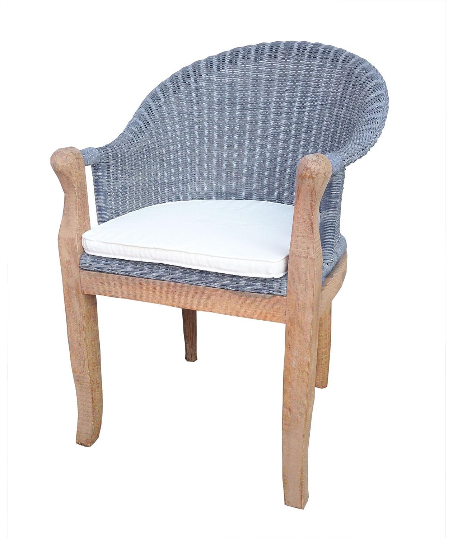 Rattan Esszimmerstühle sam rattan esszimmer stuhl cobra in farbe grau blau mit armlehnen