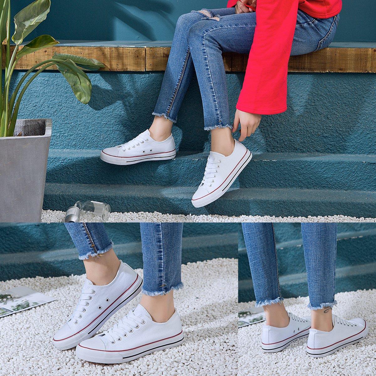 AOMAIS Womens Canvas Shoes Sneaker Low Top Lace up Fashion Walking Shoes (US7, white1) … by AOMAIS (Image #5)