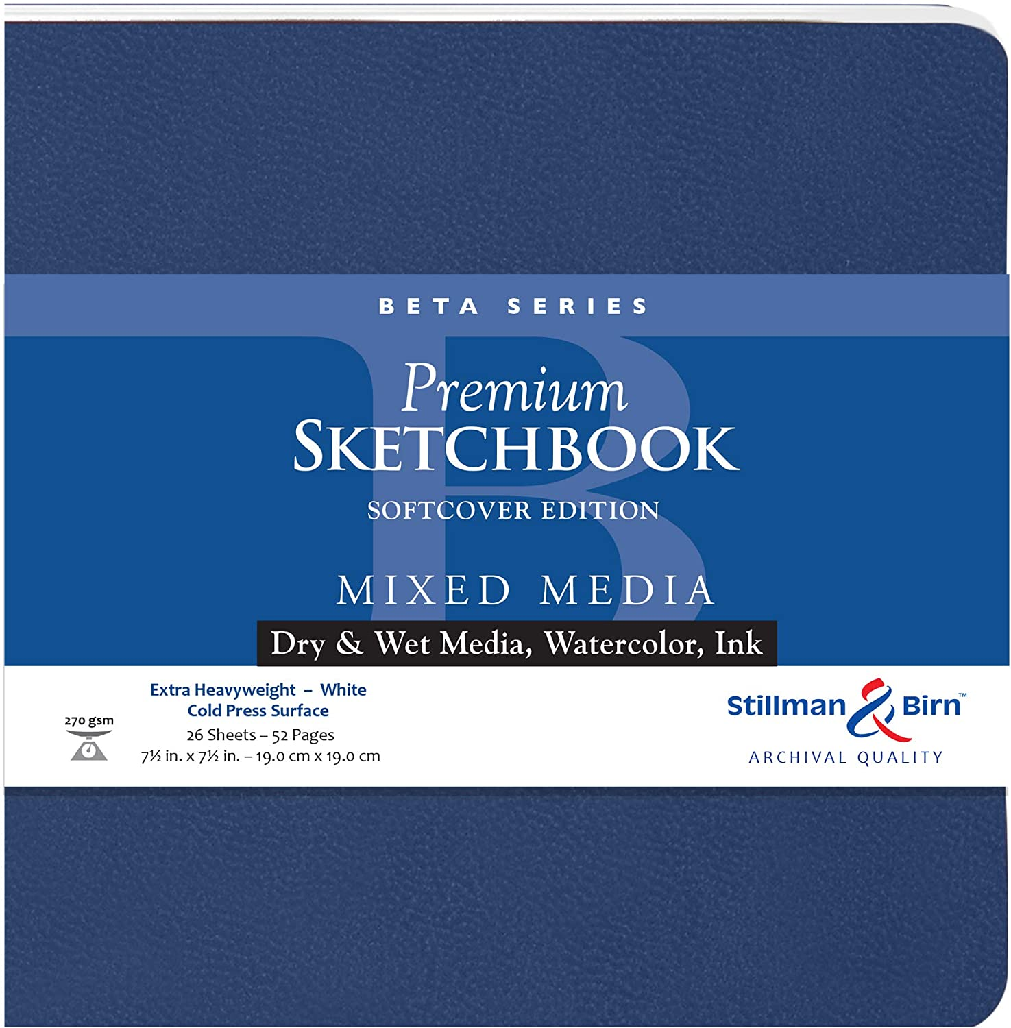 7.5 x 7.5 inches 301750S Beta Series Stillman /& Birn Square Softcover Sketchbook Cold Press Surface 26 Sheets of Extra Heavyweight White paper