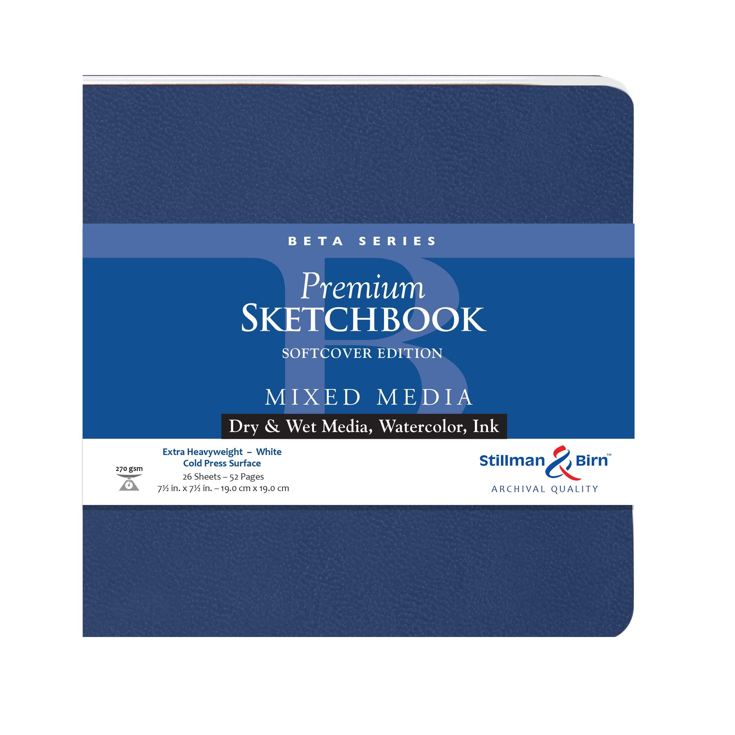 Stillman & Birn Beta Series Softcover Sketchbook, 7.5'' x 7.5'', 270 gsm (Extra Heavyweight), White Paper, Cold Press Surface by Stillman & Birn