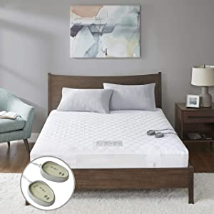 "MP2 Heated Mattress Pad King with 5 Heat Settings and 10 Hours Auto Shut Off Dual Controllers Fit up to 18"" Mattress Electric Mattress Cover with Deep Pocket 78"" x 80"""