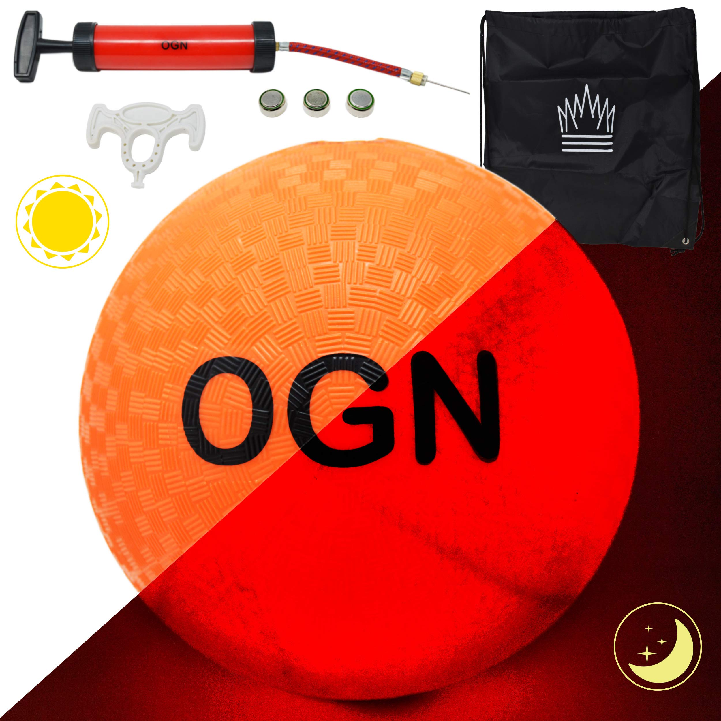 Outdoor Games Light Up Kickball with Pump and Bag - Light Up The Night with This Glow in The Dark Kickball Set for Kids (Button Activated)