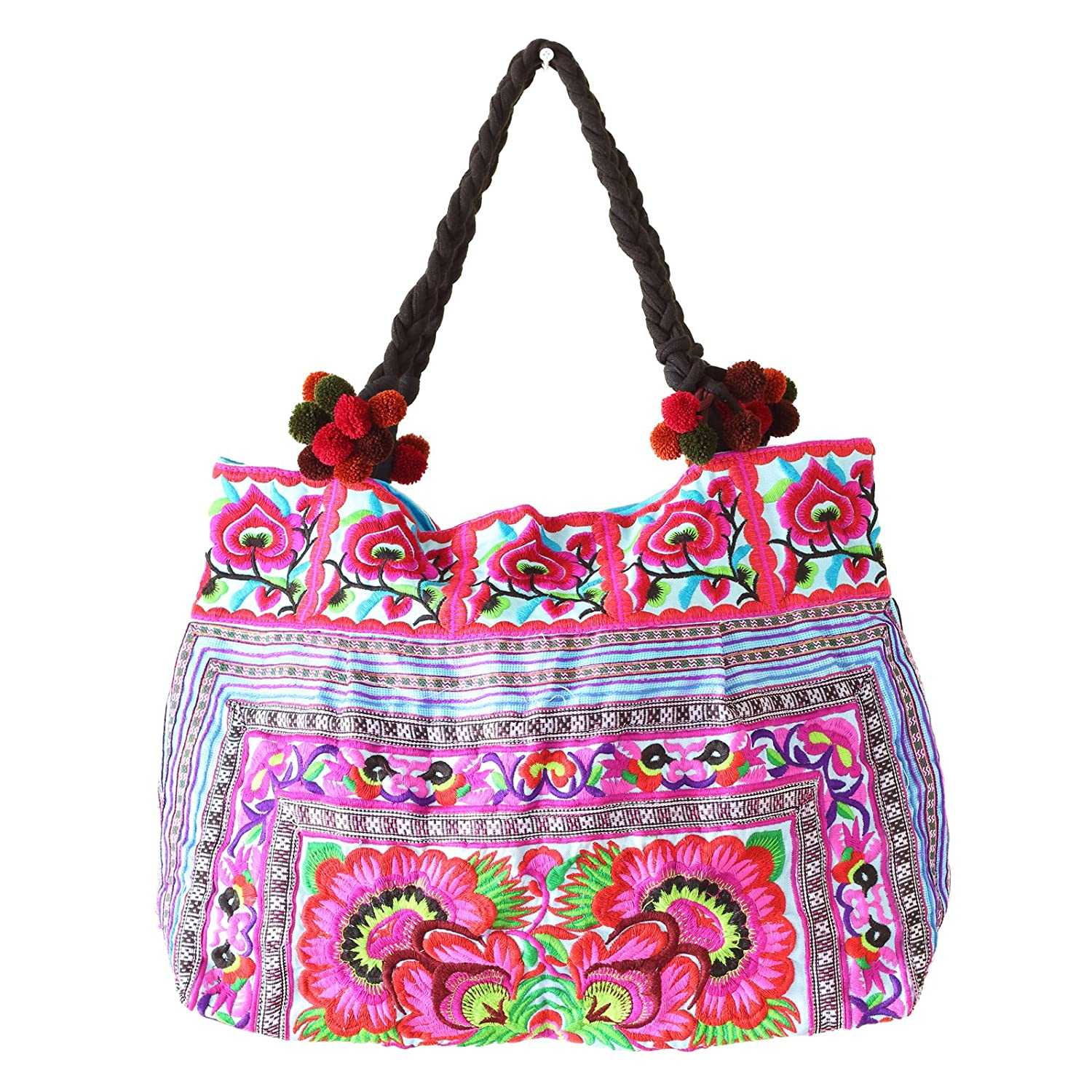 Changnoi Blue Rose Hill Tribe Tote Bag Large Size Made By The Hmong Bags Thai Fair Trade