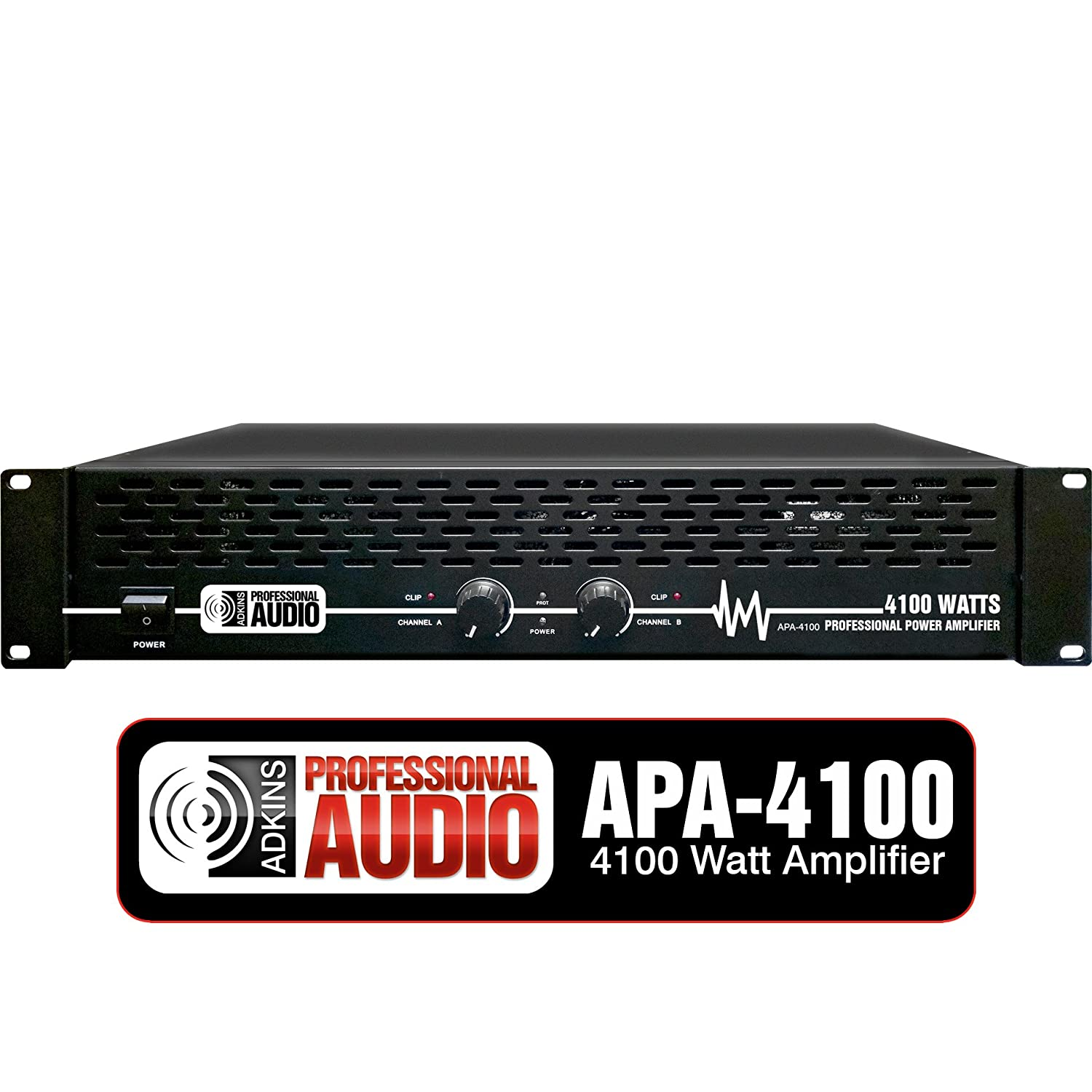 amazon com: 4100 watt professional dj power amplifier - adkins pro audio -  quality