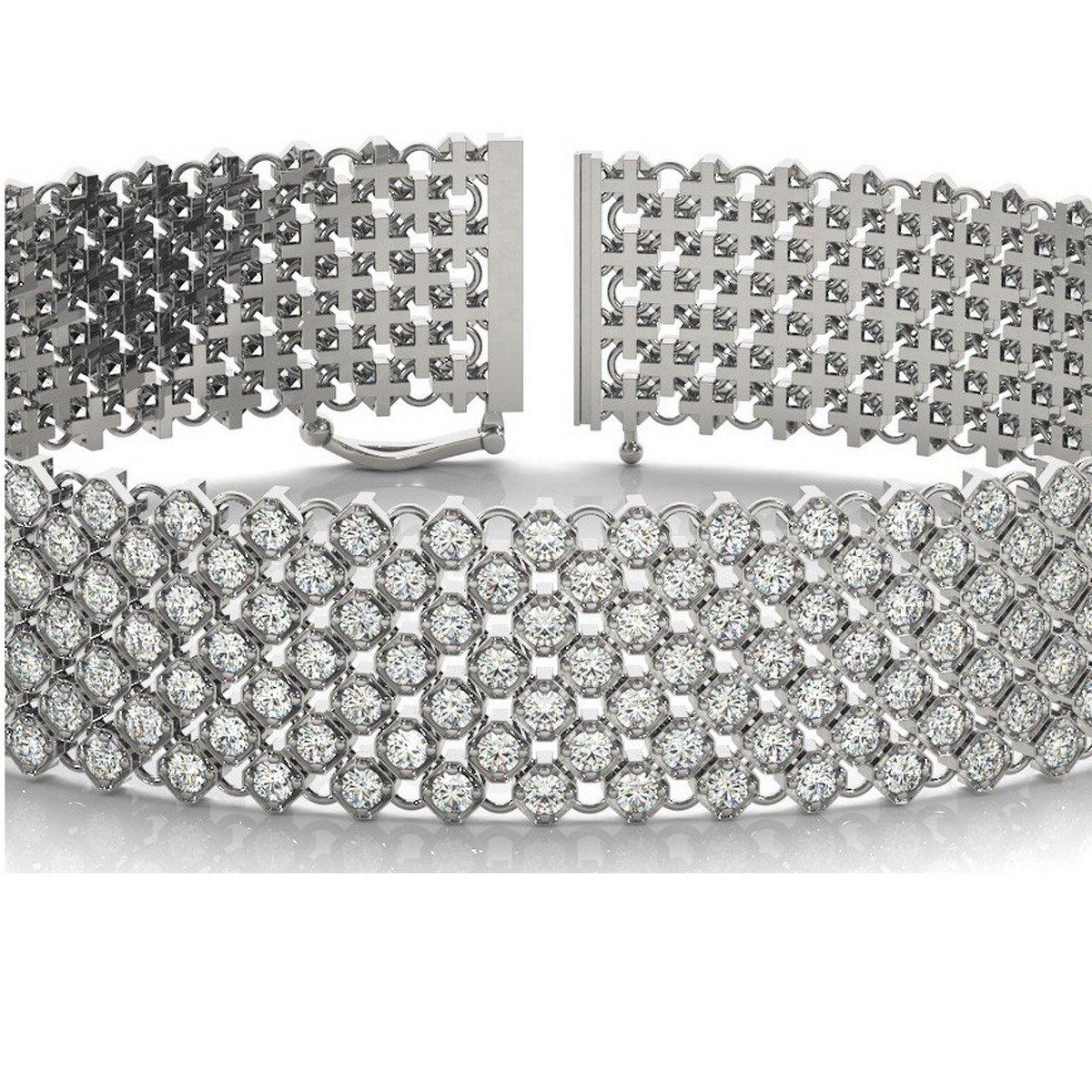 18k Gold Diamond Multi-Row Wide Luxury Bridal Bracelet 4.16ct