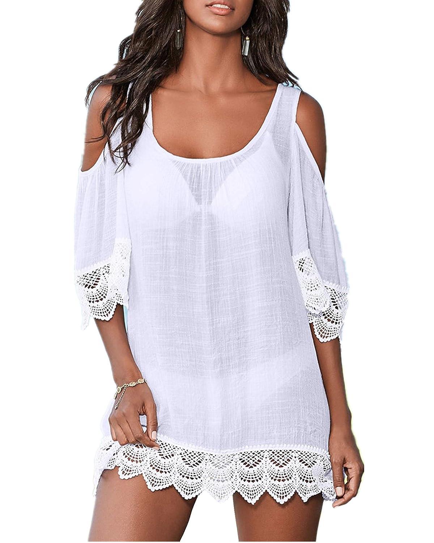 PANAX Schulterfreies Damen Strandkleid in Schwarz - Bikini Kittel Sommer Poncho Shirt-Kleid mit Spitze