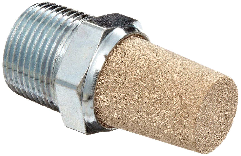 Parker EM12 EM Series Sintered Bronze Muffler/Filter, 1/8'' NPT Male, 7/16'' Hex Size, 250 psi