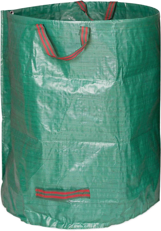 PP TOPSEAS Gartensack,3 x 272L Gartenabfallsack aus Robustem Wasserdichtes Polypropylen-Gewebe ,Selbststehend und Faltbar Laubs/äcke,Set Gartensack mit 1 Paar Gartenhandschuhe
