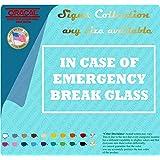 "In Case of Emergency Break Glass 3"" X 5"" Vinyl Decal Sticker Business Fire Hot White"